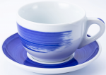"Чашка cappuccino large 260 мл Blue stroke B ""Verona Millecolori Hand Painted Brush stroke B Blue wit"