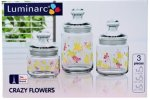 Набор банок LUMINARC Crazy Flowers (0,5 л, 0,75 л, 1 л) 3 пр